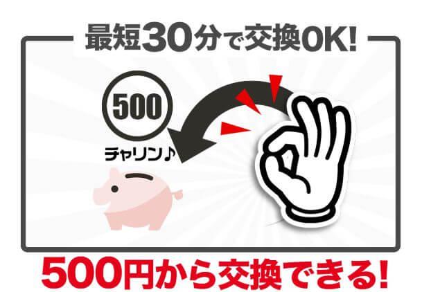 貯めたポイントは500円分から交換できる